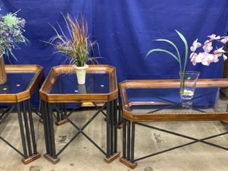 3 Piece Glass Top Coffee / End Tables Nail Head