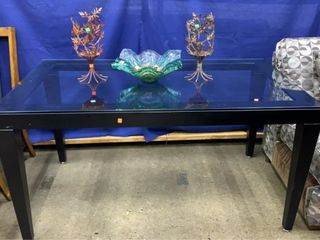 Glass Top Metal Base Dining Table And 3 Decor