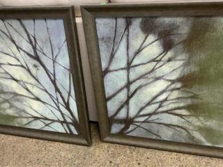 Pair Of Canvas Prints Tree Branch Motif 34.5x34.5