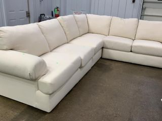White Cloth Sectional 4 Piece 130x103