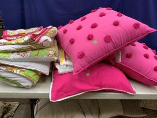 Full Size Pink, And Green Bedding Set With