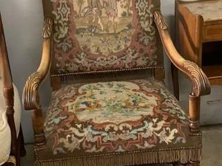 French Baroque Style Carved Arm Chair: Hand