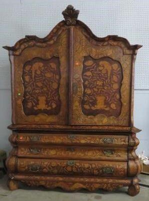 Dutch Linen Press Cabinet Mahogany Case