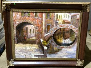 Framed Signed O/c Venice See Photos For Signature