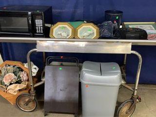 Cart Top And Bottom: Microwave, Wall Decor,