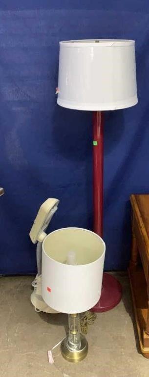 Maroon Floor Lamp, Table Lamp And Ott-lite