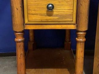 One Drawer Wooden End Table Has Water Damage 13x