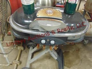 Coleman propane grill w  2 tanks  partial