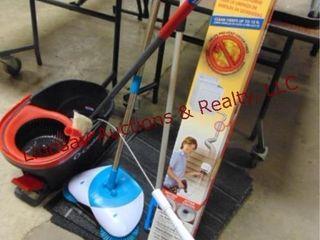 Group of cleaning  mop  mop bucket  floor broom