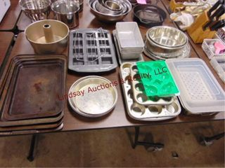 Group of baking items  pans  muffin pans