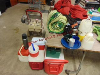 Group of camping  4 coolers  water jug  lunchbox