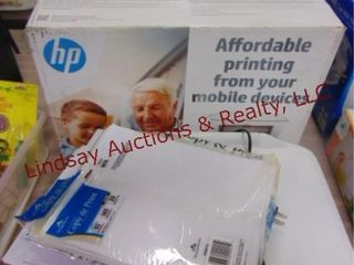 3 HP printers  paper  empty coin wrappers