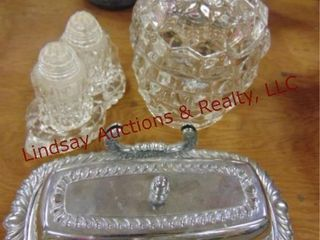 6 pcs glass   metal butter tray SEE PICS