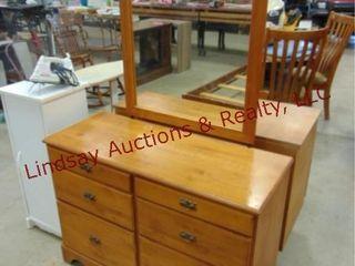 6 drawer wood dresser w  mirror 42 x 17 x 65