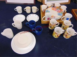 Approx 36 dishes  plates  coffee cups  tray