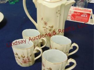 5 pcs Hand painted Nippon  pitcher w  lid   4 cups