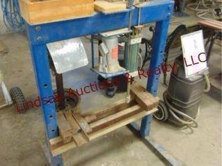 H frame 12 ton hyd air press w  accessories 32x45