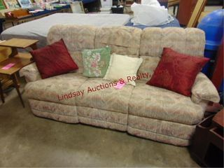 Cloth couch both ends recline w  4 pillows