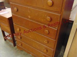 6 drawer wood dresser 33 x 17 x 48