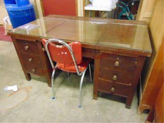 6 drawer wood desk w  glass top   chair 60x36