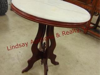 wood side table w  marble top 24 x 18 x 29