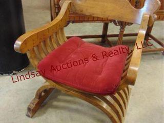 wood chair w  cushion 24 x 27