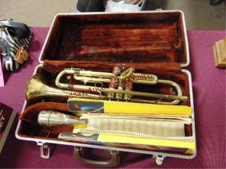 Vintage Old Ambassador trumpet w  case   other