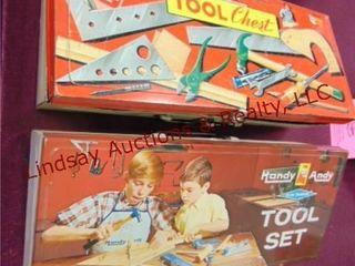 Vintage toy tools w  tool boxes