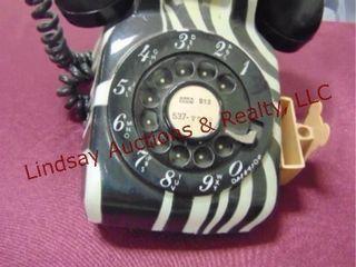 Vintage rotary dial telephone w  zebra print