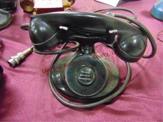 Black vintage receptionist style phone
