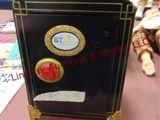 Metal safe style coin bank w  combo  black