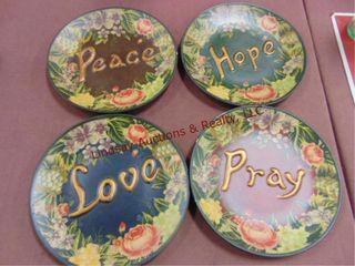 4 plates  Hope  love  peace  pray