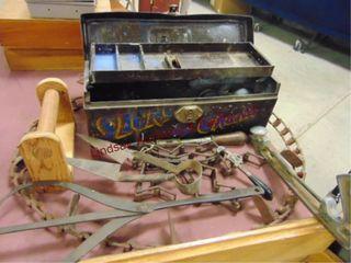 Metal tool box w  vintage tools