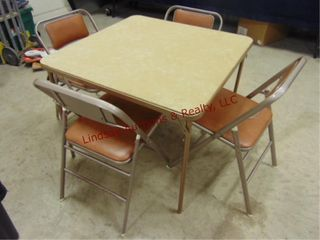 Vintage foldable card table w  4 folding chairs