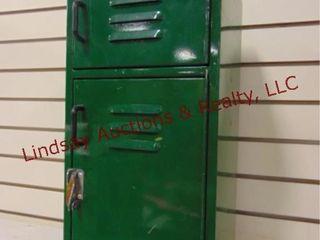 Green small metal storage locker