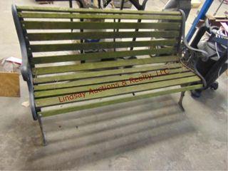 Wood bench w  metal frame