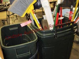 3 trashcans  brooms  snow shovels    other misc