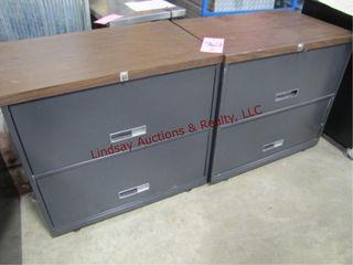 2  2 drawer file cabinets  1 w  key