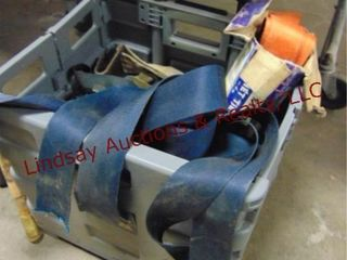 Crate w  jumper cables  ratchet straps  heet