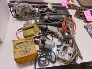 7 elec tools  grinder  skil saw  drills    other