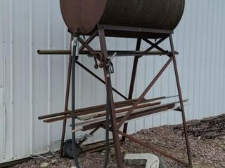 Gravity feed fuel barrel on stand, approx 300 gall