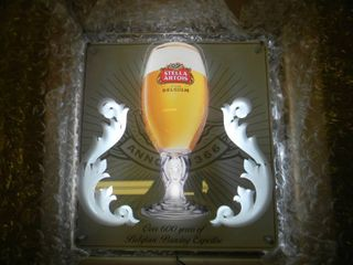 NEW IN BOX!!!!! ONLY OPENED FOR PICTURES!!!!! - STELLA ARTOIS LED LIGHT! (WORKS AS SEEN IN PICTURE BUT WILL NEED CORD PICTURED!) - AWESOME PIECE FOR THE CAVE!!!!! - APPROX 16