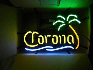 NEW IN BOX!!!!! ONLY OPENED FOR PICTURES!!!!! - CORONA PALM TREE NEON LIGHT! - ANOTHER AWESOME PIECE FOR THE CAVE!!!!! - APPROX 17