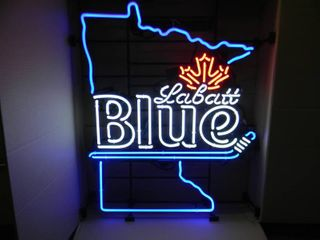 NEW IN BOX!!!!! ONLY OPENED FOR PICTURES!!!!! - MINNESOTA HOCKEY STICK LARGE LABATT'S BLUE NEON LIGHT! - AWESOME PIECE FOR THE CAVE!!!!! - APPROX 29
