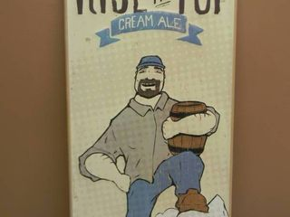 THIRD STREET BREWHOUSE COLD SPRING MN RISE TO THE TOP CREAM ALE TIN SIGN - VERY COOL!. - APPROX 12