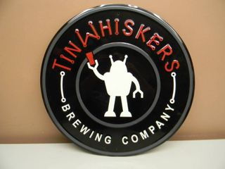 TIN WHISKERS BREWING COMPANY TIN SIGN - VERY COOL SIGN!!!!! - APPROX 18