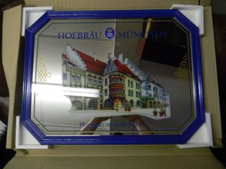 NEW IN BOX!!!!! ONLY OPENED FOR PICTURES!!!!! HOFBRAU MUNCHEN BEER MIRROR - NICE! - APPROX 25