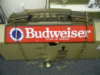 VINTAGE BUDWEISER BEER CLYDESDALES (CLOCK ON BOTH SIDES!) POOL TABLE LIGHT - HARD WIRED! - AWESOME RARE PIECE!!!!! - APPROX 40