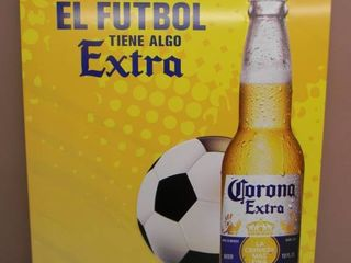 NEW IN BOX!!!!! ONLY OPENED FOR PICTURES!!!!! - CORONA EL FUTBOL TIN SIGN - ANOTHER AWESOME PIECE FOR THE CAVE!!!!! - APPROX 18