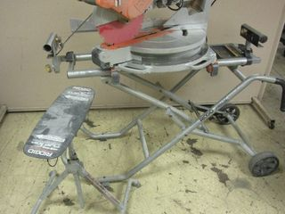 RIGID SLIDING COMPOUND MITER SAW, ON COLLAPSIBLE MITER SAW UTILITY VEHICLE, WITH FLIP-TOP SUPPORTS